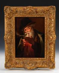 Porcelain painting: the pipe smokers, HUTSCH