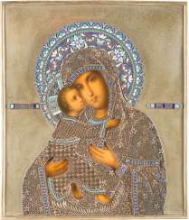 ICON OF THE MOTHER OF GOD OF VLADIMIR (VLADIMIRSKAYA) WITH FILIGREE AND CLOISONNÉ ENAMEL OKLAD