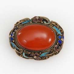 Filigree brooch with carnelian and enamel.