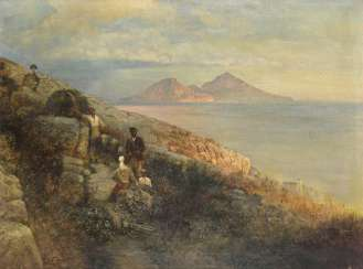 Copy after Oswald Achenbach: Italian farmers on the coast