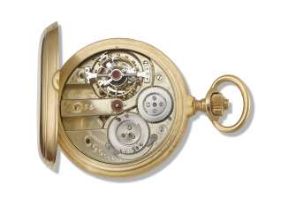 PERRET & MARTIN, GENEVA, 18K GOLD HUNTER CASE KEYLESS POCKET CHRONOMETER WITH ONE MINUTE TOURBILLON AND DETENT ESCAPEMENT, MADE FOR THE SPANISH MARKET