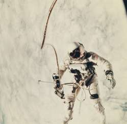First US spacewalk; Ed White's EVA over the cloud-covered Pacific Ocean, June 3, 1965