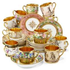A GROUP OF THIRTEEN PARIS PORCELAIN GOLD-GROUND COFFEE-CUPS AND THIRTEEN SAUCERS