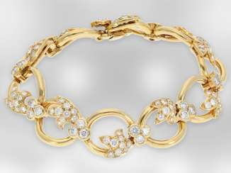Bracelet: interesting 18K gold design bracelet with brilliant finishing, fine quality, approx. 7ct, exclusive brand-name jewellery by Chaumet Paris