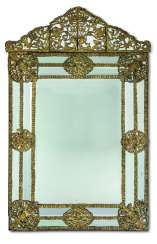 A LOUIS XIV REPOUSSE GILT-BRASS MIRROR