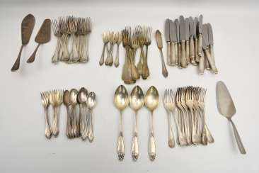 CHRISTOFLE etc., CUTLERY-VINTAGE-silver/part silver, marked, signed with monogram, 1. Half of the 20. Century