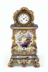 A JACOB PETIT PORCELAIN BLUE-GROUND CLOCK ON FIXED STAND