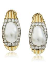 DAVID WEBB BAROQUE CULTURED PEARL AND DIAMOND EARRINGS