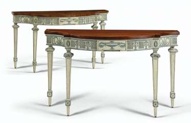 A PAIR OF GEORGE III CREAM AND BLUE-PAINTED MAHOGANY SIDE TA...