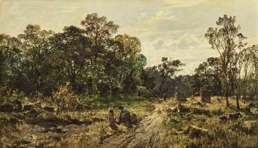 Forest landscape with rastendem forest workers