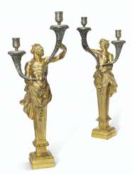 A PAIR OF ITALIAN GILT-BRONZE AND SILVERED-METAL TWIN-LIGHT ...