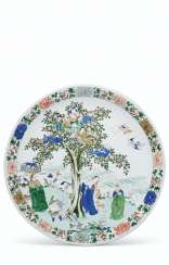 A LARGE AND VERY RARE FAMILLE VERTE DISH