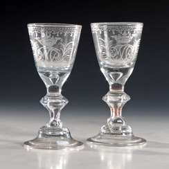 Pair of Baroque chalice glasses with Adelswappe