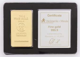 1 - gold bullion 100g gold bars, the manufacturer Heimerle + Meule,