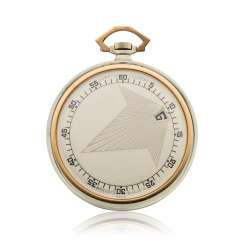 GUBELIN, WANDERING HOURS & JUMP HOURS, 18K WHITE & PINK GOLD, ART DECO DESIGN POCKET WATCH
