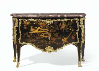 A LOUIS XV ORMOLU MOUNTED CHINESE LACQUER AND VERNIS MARTIN ...