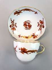 Coffee and cake: Meissen porcelain, Dresden Hofdrache in Red with Gold, very good.