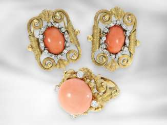 Ring / earrings: very decorative, opulently decorated antique jewelry set with angel skin coral and diamonds, a total of approx