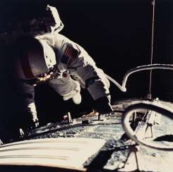 The final Apollo mission: a group of six photographs including the spacewalk; module rendezvous; lunar rover; lunar module