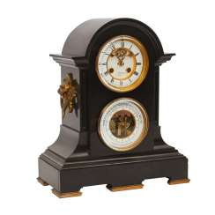 BLACK MARBLE MANTEL CLOCK WITH WEATHER STATION