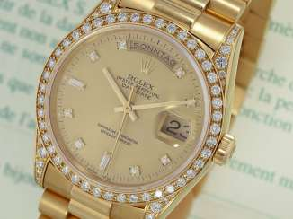 Watch: luxury 18K Gold Rolex Day-Date Ref. 18388, with original diamonds, original papers and service document, 2015, LC100, from the year 1995, condition as NEW!