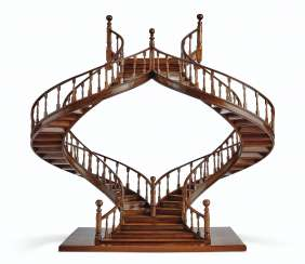 A MAHOGANY AND BOIS SATINE MODEL OF A STAIRCASE