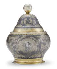 A RUSSIAN PARCEL-GILT SILVER AND NIELLO JAR AND COVER