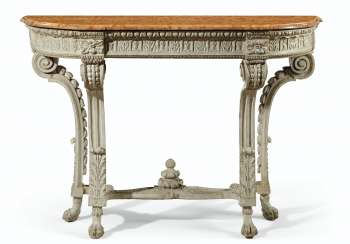 A LATE LOUIS XV GRAY-PAINTED SIDE TABLE