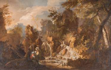 MOUNTAINOUS BROOK LANDSCAPE WITH RUINS AND AMOROUS PAIR ON THE RIVER WHILE FISHING