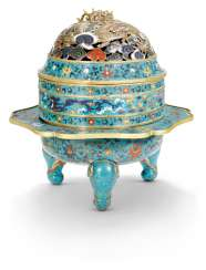 A RARE CLOISONNÉ ENAMEL TRIPOD 'DRAGON' CENSER AND COVER