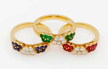 Three decorative Multicolor band rings