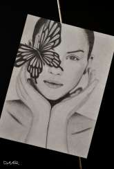 PORTRAIT WITH BUTTERFLY. Graphics. Maria Daar