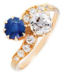 You-and-Me Ring mit Brilliant und Sapphire