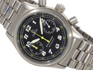 Wrist watch: great sports Chronograph, Omega Dynamic automatic in stainless steel with original box, approx 2003