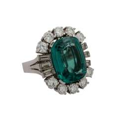 Ring with tourmaline approx. 12.5 ct and diamonds