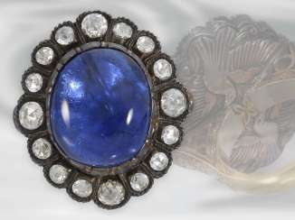 Ring: unique antique sapphire ring with very valuable Burma sapphire of approx. 26ct, untreated, SSEF certificate, 18K Gold, silver