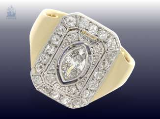 Ring: antique, solid carved gold ring is forged with a rich diamond trim, handmade, approx 1.2 ct