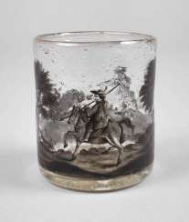 Wine glass with black painting
