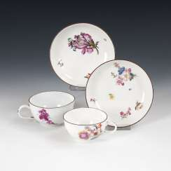 2 cups with flower painting, MEISSEN.