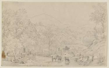 Hilly landscape with homestead, riders and animals