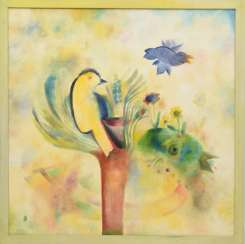 FREDERIKE FRANZKOWIAK, bird of the soul, Oil on canvas, 1991, signed, framed.