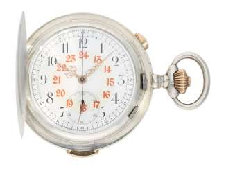 Pocket watch: quality Savonnette with Repetition and Chronograph, Patent Swiss 13944 (Barbezat-Baillot), No. 51238, CA. 1900
