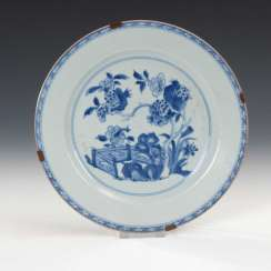 Plate with blue painting.