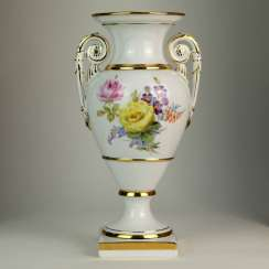 Exceptional Amphora Vase: Meissen Porcelain, 19th Century. Century Naturalistic painting on both sides, very good.