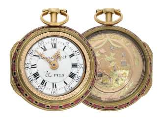 Pocket watch: extremely splendid and well preserved 4-colors 3-compartment housing Spindeluhr with Repetition, important watchmaker, Isaac Soret No. 14899, Geneva, about 1750
