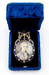 Magnificent brooch with miniature painting, beads and enamel
