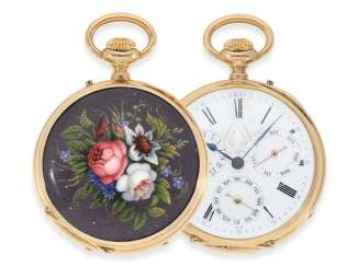 Pocket watch: extremely rare French watch with full calendar and very fine enamel painting
