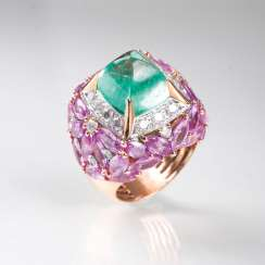 Exceptional Emerald-Sapphire-Diamond-Ring