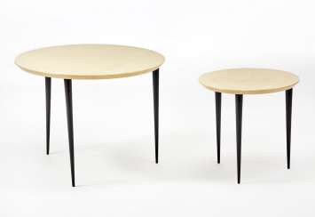 Two tripod coffee tables