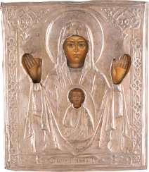 SMALL ICON OF MOTHER OF GOD OF THE SIGN (ZNAMENIE) WITH SILVER OKLAD